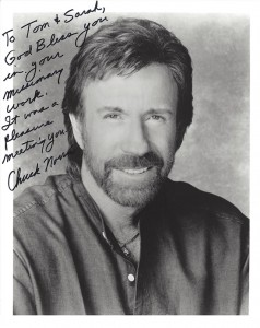 tom meyer guest speaker signed picture with note from chuck norris