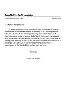 tom-meyer-wordsower-ministries-recite-scripture-memory-revelation-foothills-fellowship-letter